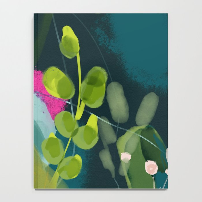 abstract jungle fever leaves in floral green Notebook