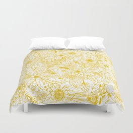 Yellow Floral Doodles Duvet Cover