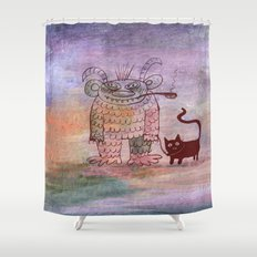 evil sorcerer with his cat Shower Curtain