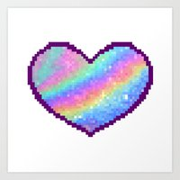 holographic Art Prints featuring Holographic Heart by Sombras Blancas Art & Design