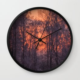 Winter Scene - Frosty Trees Against The Sunset #decor #society6 #homedecor Wall Clock