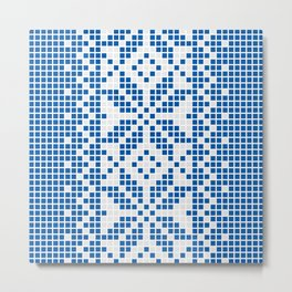 Blue & White Ethnic Pattern Metal Print