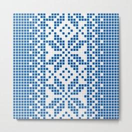 Blue & White Ethnic Pattern Metal Print