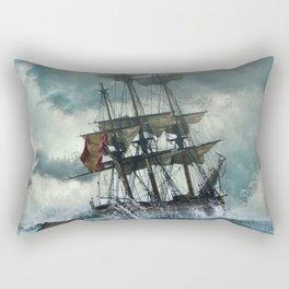 Ship, Shipwreck, Adventure, Setting, Boat, Mysticism. Vintage. Retro. Illustration.  Rectangular Pillow