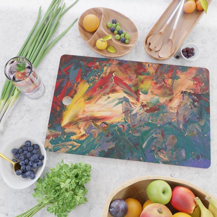 Bird in Expressionist Garden of Fire Cutting Board