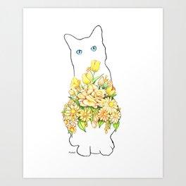 Tall White Cat Art Print