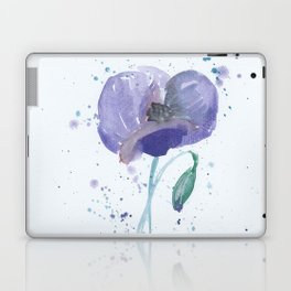 Blue Poppy flower illustration painting in watercolor Laptop & iPad Skin