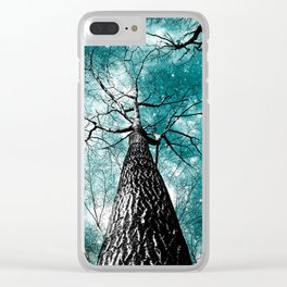 Wintry Trees Galaxy Skies Teal Clear iPhone Case