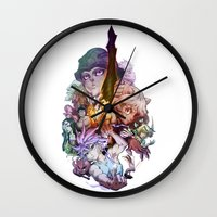 hunter x hunter Wall Clocks featuring Hunter X Hunter Characters by Prince Of Darkness