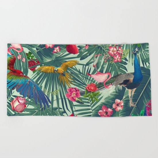 tropical fun nature Beach Towel