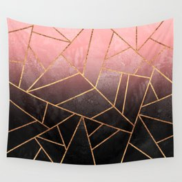 Pink And Black Stone Wall Tapestry