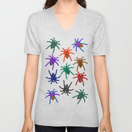 Spiders Colorful Halloween Tarantulas Pattern Unisex V-Neck