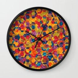 Colorful Half Hexagons Pattern Wall Clock