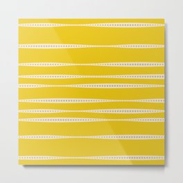 Abstract wavy stripes in mustard yellow, grey, and off-white Metal Print