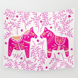 Swedish Dala Horses – Pink Palette Wall Tapestry