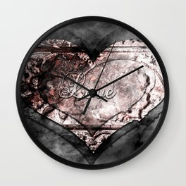 Ink Stamp Heart Wall Clock