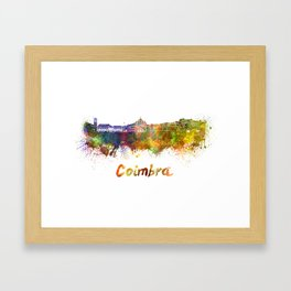 Coimbra skyline in watercolor Framed Art Print