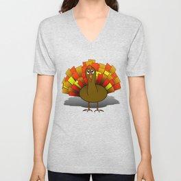 Worried Turkey Illustration Unisex V-Neck