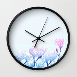 Frozen Magnolia Wall Clock