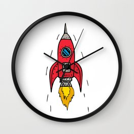 Vintage Rocket Ship Blasting Off Drawing Wall Clock