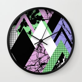 Textured Points - Marbled, pastel, black and white, paint splat textured geometric triangles Wall Clock