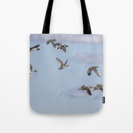 Mallards, Northern Pintails and a Green-winged Teal in Flight Tote Bag