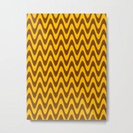 Amber Orange and Chocolate Brown Horizontal Waves Metal Print