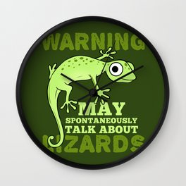 Warning May Spontaneously Talk About Lizards Lizard Lover Gift Wall Clock