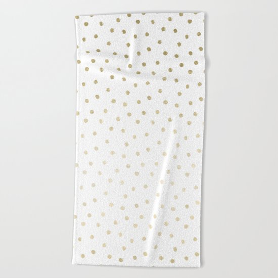 Delicate Gold Polka Dots Beach Towel