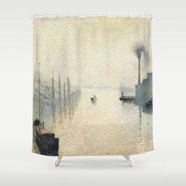 """Camille Pissarro """"L'Île Lacroix, Rouen (The Effect of Fog)"""" Shower Curtain"""