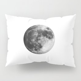 Moon | Full Moon | Black&White Art | Minimalism | Universe | Watercolor Painting Pillow Sham