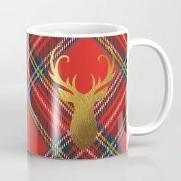 Gold Stag Head On Red Tartan Coffee Mug