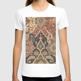 Geometric Leaves I // 18th Century Distressed Red Blue Green Colorful Ornate Accent Rug Pattern T-shirt