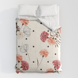 Farmhouse Chic Flower Pattern in Pink Black and White Comforters
