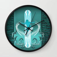 snowboarding Wall Clocks featuring Snowboarding by nicky2342