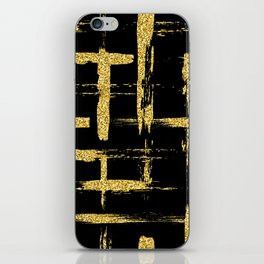 Gold glitter brush on black iPhone Skin