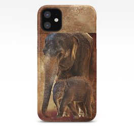Asian Mother Elephant with Baby iPhone Case
