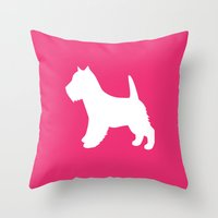 westie Throw Pillows featuring Westie (Pink/White) by Erin Rea