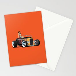 Custom Hot Rod Roadster Car with Flames and Sexy Woman Stationery Cards