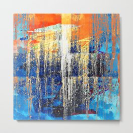 Golden Dawn, Abstract Landscape Art Metal Print