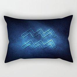 Aquarius zodiac sign, night sky,Horoscope Astrology background,Aquarius horoscope symbol, blue horoscope Rectangular Pillow