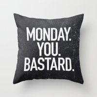 xbox Throw Pillows featuring Monday You Bastard by Text Guy