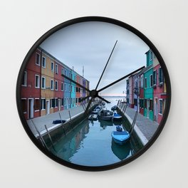 Colorful Houses with Boats in Burano, Venice, Italy Wall Clock