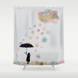 Colorful snow in Winter Shower Curtain