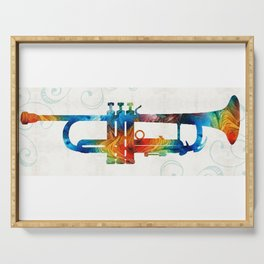 Colorful Trumpet Art Color Fusion By Sharon Cummings Serving Tray