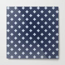 Pale Blue Swiss Cross Pattern on Navy Blue background Metal Print