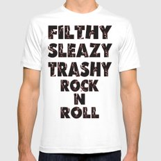 Rock N Roll MEDIUM White Mens Fitted Tee