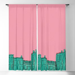 pink and green cityscape Blackout Curtain