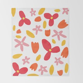 Pink Flowers and Petals Throw Blanket