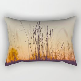 Ambient Colorful Red Orange Sunset With Wheat Silhouette Rectangular Pillow